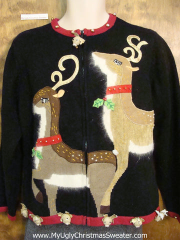 Huge Festive Reindeer Ugliest Christmas Sweater