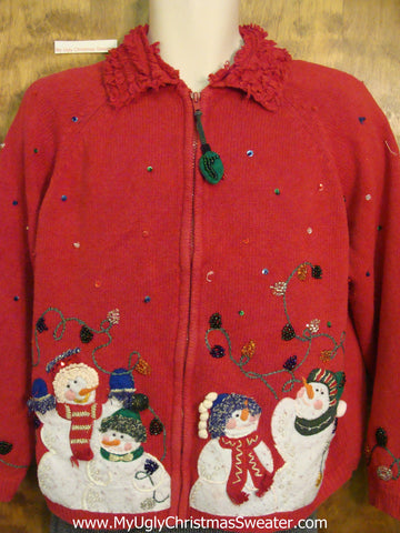 Celebrating Snowmen Ugliest Christmas Sweater