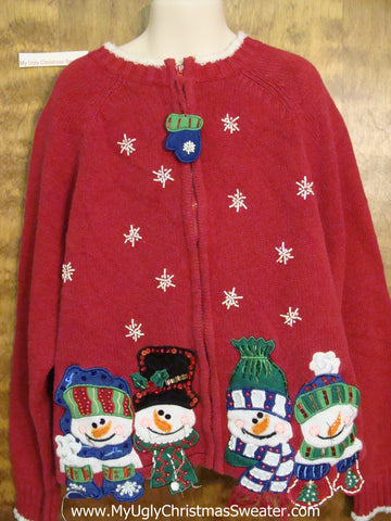 Carrot Nosed Snowmen Ugliest Christmas Sweater