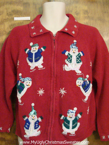 Athletic Skating Snowmen Ugliest Christmas Sweater