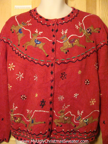 Tacky Ugly Christmas Sweater with 2sided Pattern of Flying Reindeer (f293)