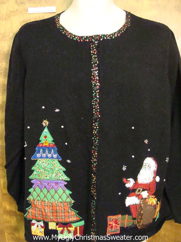 Bling Santa and Tree Ugliest Christmas Sweater