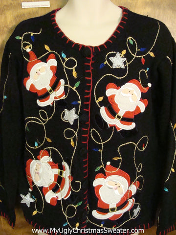 Leaping Santas Ugliest Christmas Sweater