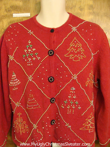 Red Ugliest Christmas Sweater with Bling