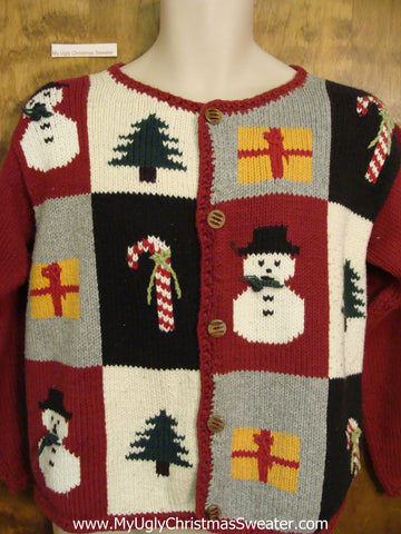 2sided Crazy Cardigan Ugliest Christmas Sweater