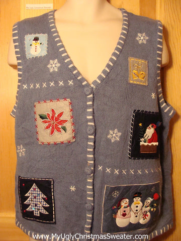 Tacky Ugly Christmas Sweater Vest with Crafty Patchwork of Decorations (f295)