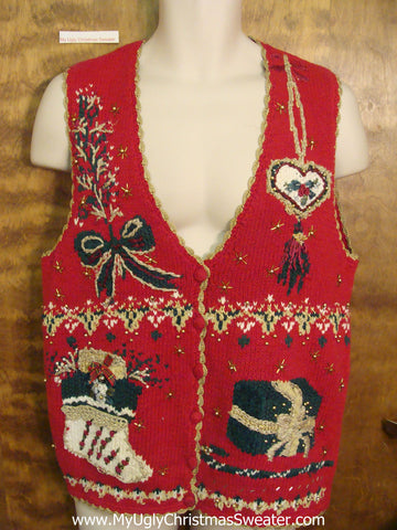 Ornate Red Ugliest Christmas Sweater Vest