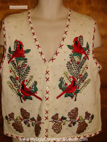 Holiday Cardignal Birds Ugliest Christmas Sweater Vest