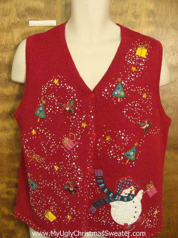 Ugliest Bling Red Christmas Sweater Vest