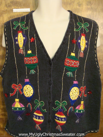 Dangling Festive Ornaments Ugliest Christmas Sweater Vest