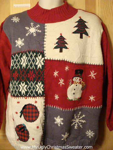 Tacky Ugly Christmas Sweater with Festive Winter Wonderland (f296)