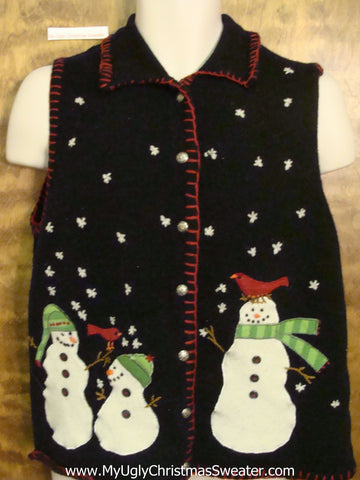 Snowmen with Birds on their Heads Ugliest Christmas Sweater Vest