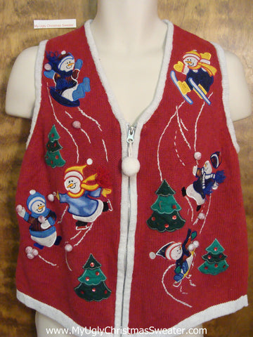 Patriotic Red White and Blue Ugliest Christmas Sweater Vest