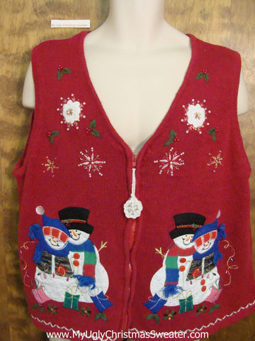 Snowman Love Ugliest Christmas Sweater Vest