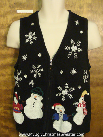 Rotund Snowmen in Winter Ugliest Christmas Sweater Vest
