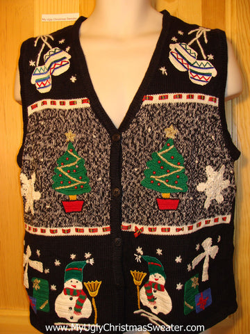 Tacky Ugly Christmas Sweater Vest with Festive Snowmen, Snowflakes, and Ornaments  (f297)