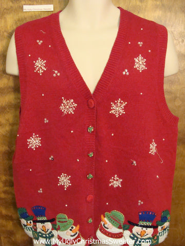 Snowman 6pack Ugliest Christmas Sweater Vest