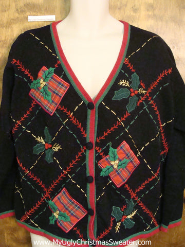 Plaid 80s Mess Ugliest Christmas Sweater