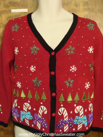 Candy Canes Trees and Snowflakes Ugliest Christmas Sweater