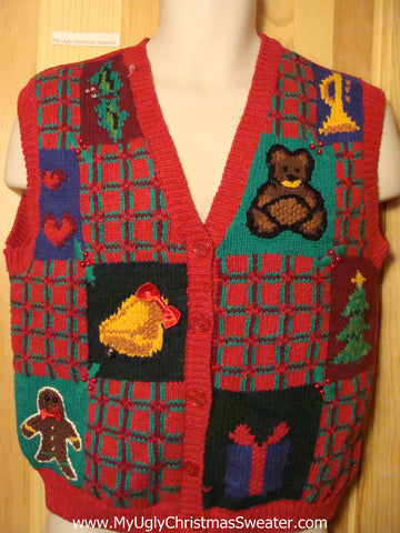 Tacky Ugly Christmas Sweater Vest with Horrid Plaid Grids & Ginger Bread Man , Trumpet, Bear, and Gift (f299)