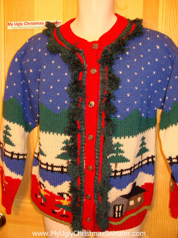 Tacky Ugly Christmas Sweater Vintage Classic Designs on Front and Back (f2)