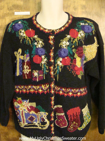 Ornate Gifts and Stockings Ugliest Bad Christmas Sweaters