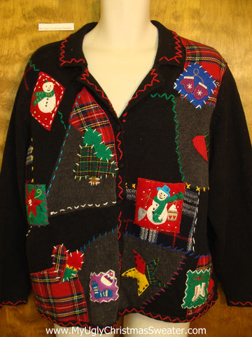 Crafty Plaid Design Ugliest Bad Christmas Sweaters