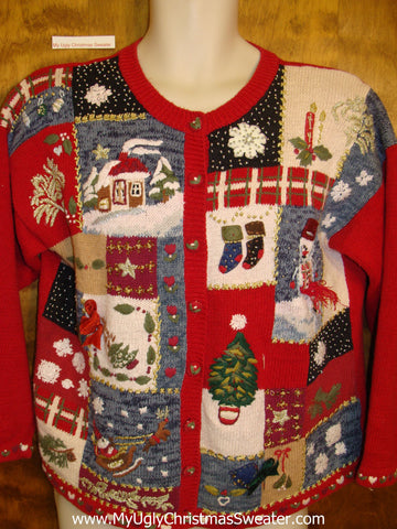 Red White and Blue Ugliest Bad Christmas Sweaters