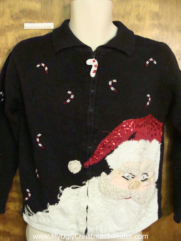Huge Santa Head Ugliest Bad Christmas Sweaters