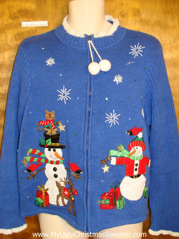 Brilliant Blue Ugliest Bad Christmas Sweaters