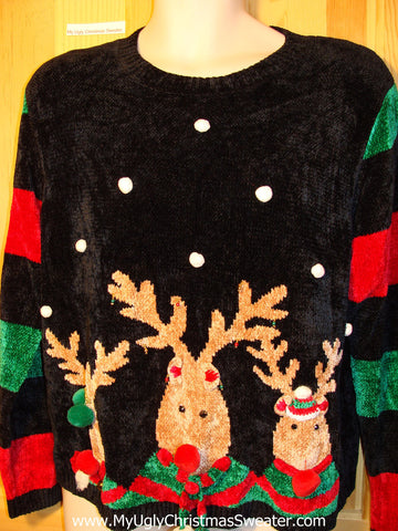 Tacky Ugly Christmas Sweater 80s Classic with 2sided Decorations Reindeer Coming and Going (f301)