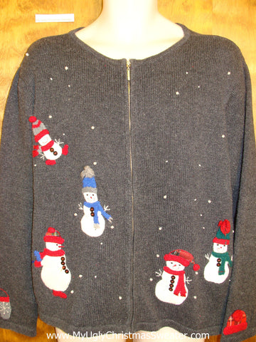 Colorful Snowmen Ugliest Bad Christmas Sweaters