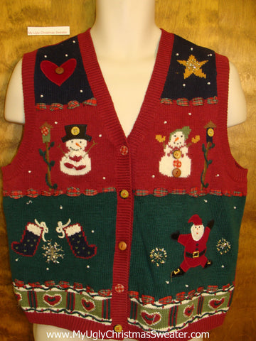 Stars and Hearts Ugliest Bad Christmas Sweaters Vest