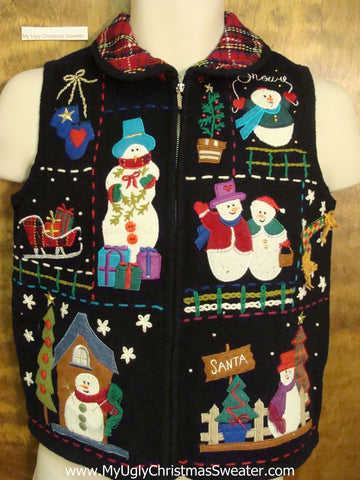 Plaid Collar Ugliest Bad Christmas Sweaters Vest