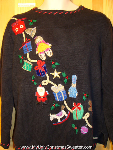Tacky Ugly Christmas Sweater with Tumbling Toys (f302)