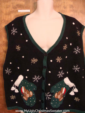 Winter Mittens Ugliest Bad Christmas Sweaters Vest Mens Wms 3XL 4XL