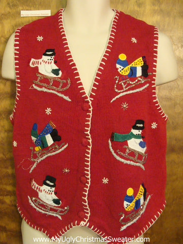 Sledding Snowmen Ugliest Bad Christmas Sweaters Vest