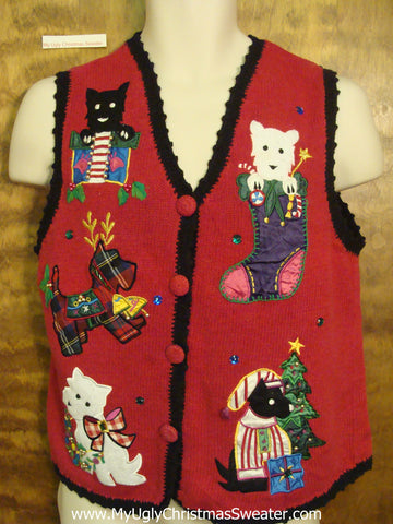Dog Lovers Ugliest Bad Christmas Sweaters Vest