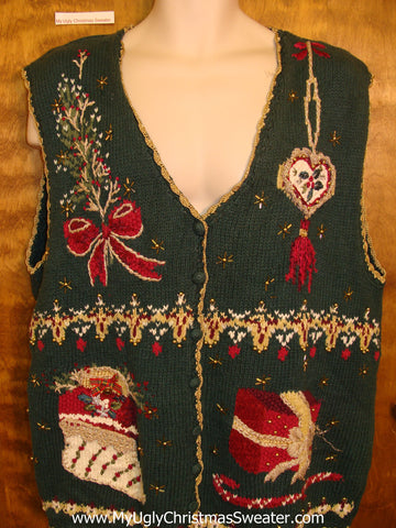 Green Ornate Ugliest Bad Christmas Sweaters Vest