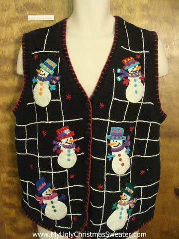 Spider Web with Snowmen Ugliest Bad Christmas Sweaters Vest