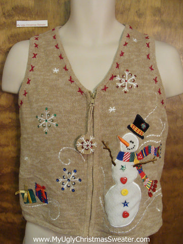 Windy Day Snowman Ugliest Bad Christmas Sweaters Vest