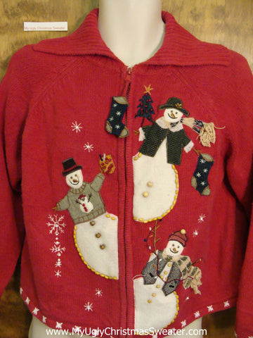 Snowman Trio Ugliest Bad Christmas Sweaters