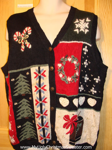 Tacky Ugly Christmas Sweater Vest with Colorful Festive Candy Canes, Wreath, Gift, Snowflakes and Trees (f304)