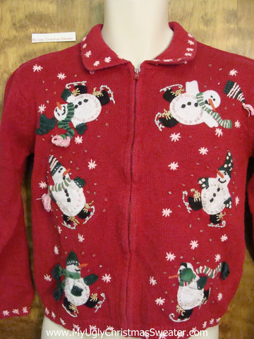 Ice Skating Snowmen Ugliest Bad Christmas Sweaters Child Size