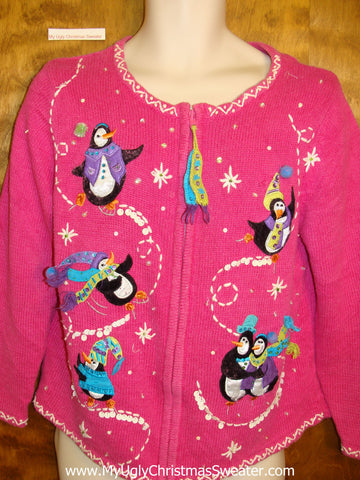 Pink Penguin Paradise Ugliest Bad Christmas Sweaters