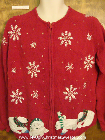 Funny Winter Bears Ugliest Bad Christmas Sweaters