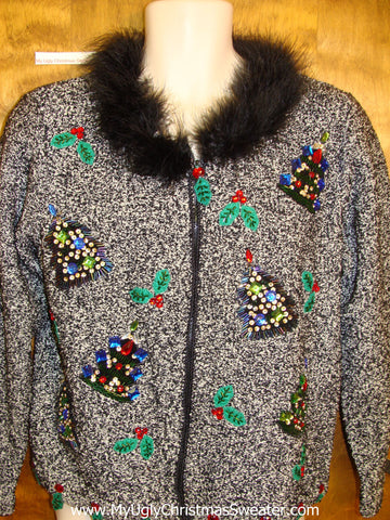 Furry Huge Collar Ugliest Bad Christmas Sweaters