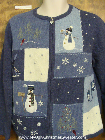 Blue Block Ugliest Bad Christmas Sweaters