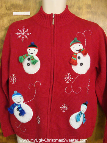 3D Scarfs on Snowmen Ugliest Bad Christmas Sweaters