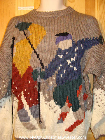 Vintage Tacky Ugly Christmas Sweater with Winter Wonderland Skiers. Two Sided Design. Classic 80s or Earlier.  (f305)
